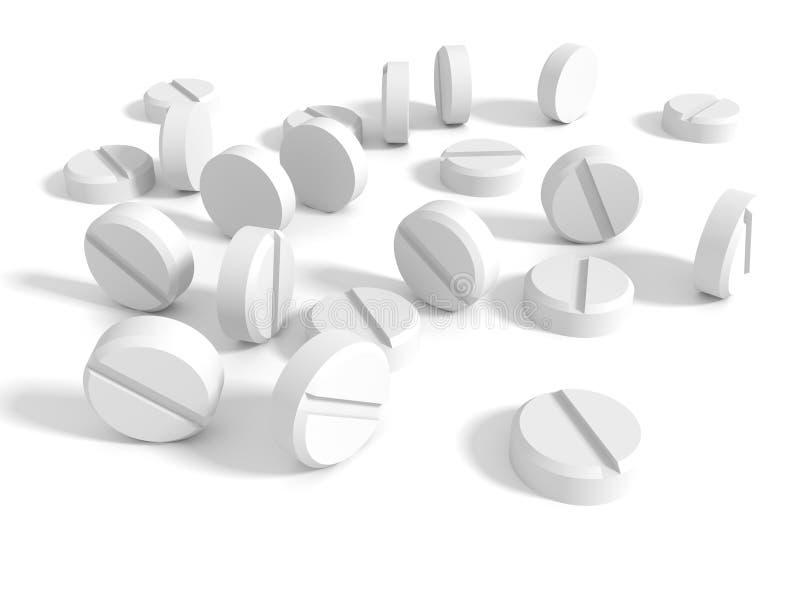 Beaucoup de pilules blanches de drogue stéthoscope réglé d'argent de médecine de mensonges de concept photo libre de droits