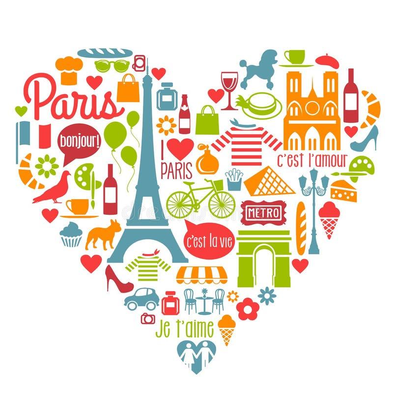 Beaucoup de points de repère et d'attractions d'icônes de Frances de Paris illustration libre de droits