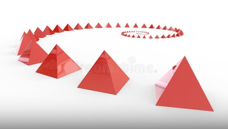 Beaucoup de pyramides rouges, illustration 3d illustration libre de droits
