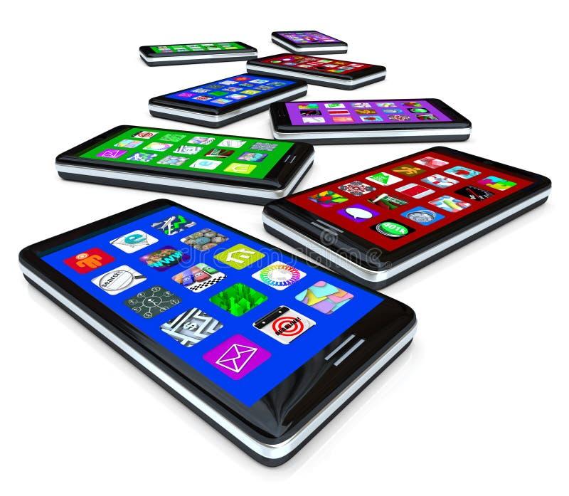 Beaucoup de téléphones intelligents avec Apps sur des écrans tactiles illustration libre de droits