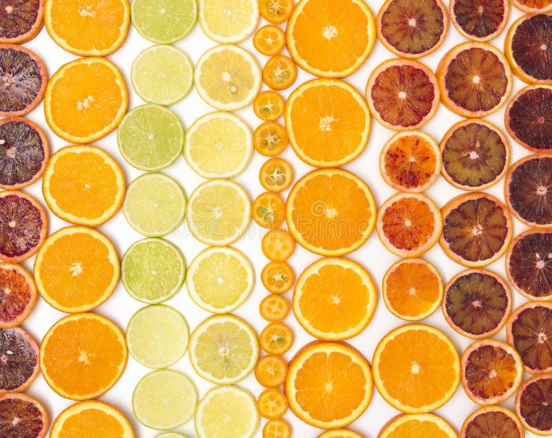 Beaucoup de tranches oranges fraîches, zironen des tranches, tranches de chaux, tranches de kumquat sont bien arrangées sur un fo photographie stock