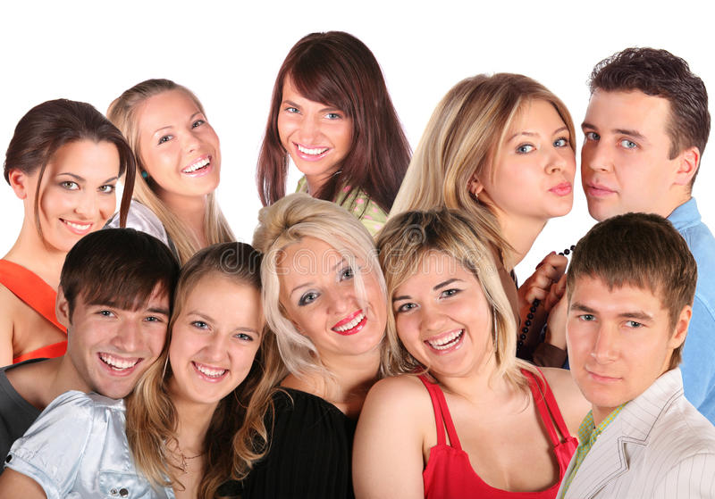 Beaucoup de visages les jeunes, collage photo stock