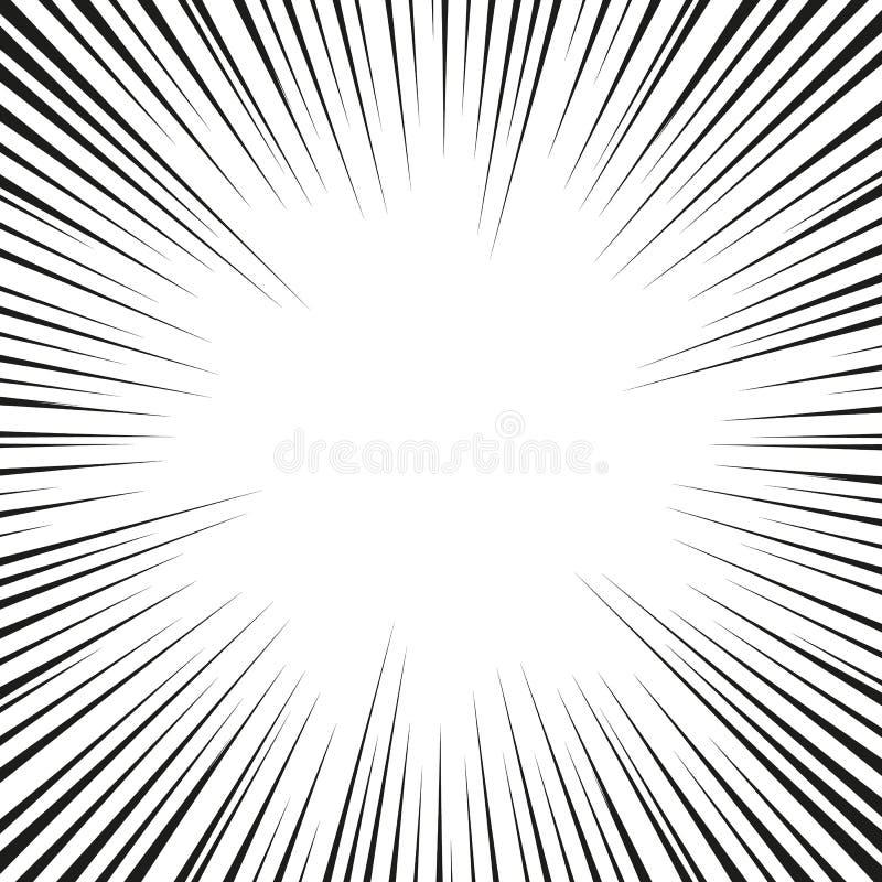Beaucoup de vitesse radiale comique noire raye sur la base blanche Illustration d'explosion de puissance d'effet Élément de conce illustration stock