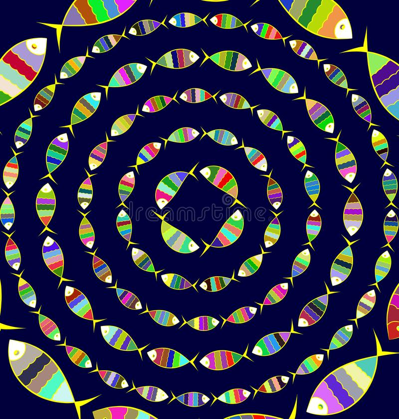 Beaucoup fond d'image coloré des cercles abstraits avec des poissons illustration de vecteur