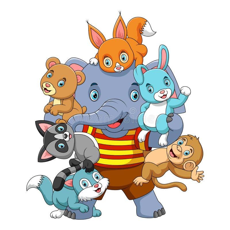 Beaucoup jeu animal avec le grand éléphant fort illustration libre de droits