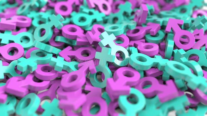 Beaucoup mâle et symboles femelles de genre Le sexe, le mariage ou la société ont rapporté le rendu 3D illustration stock