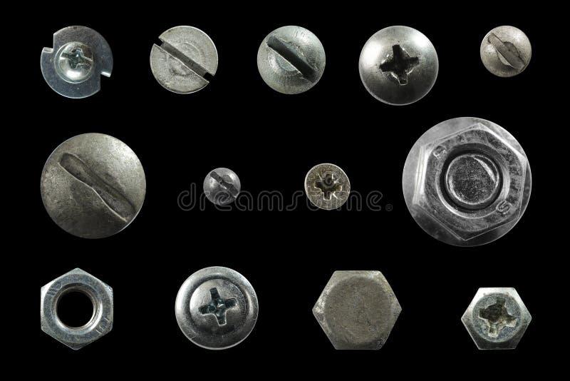 Beaucoup metal des têtes des vis, écrous, rivets photos stock