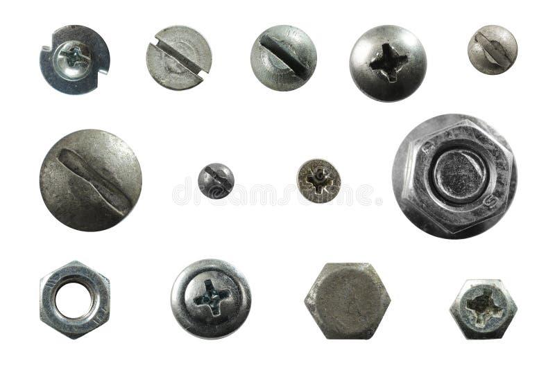 Beaucoup metal des têtes des vis, écrous, rivets photo stock