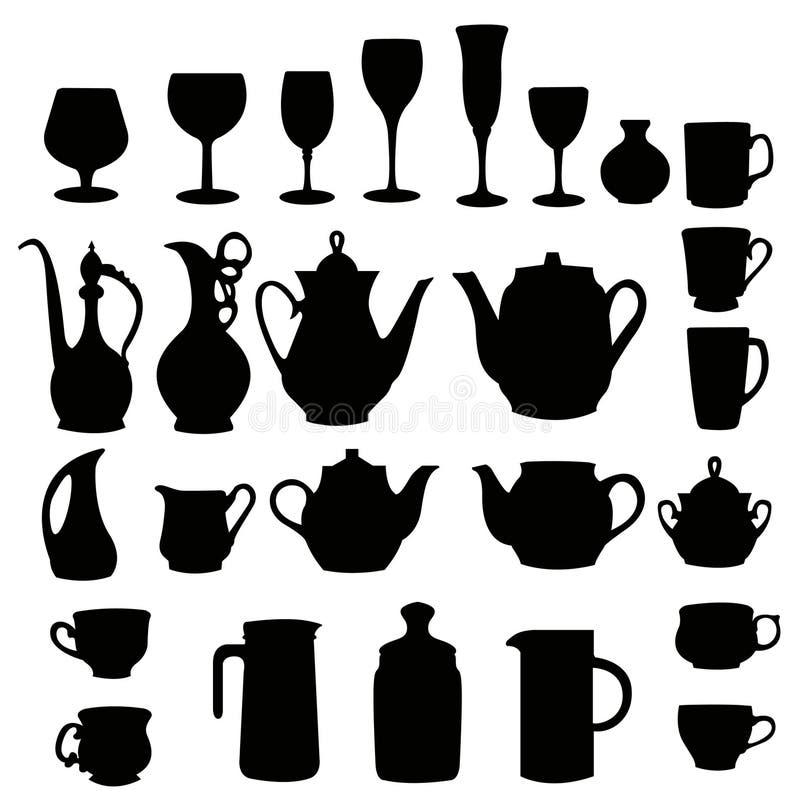 Beaucoup silhouette différente de vaisselle illustration de vecteur