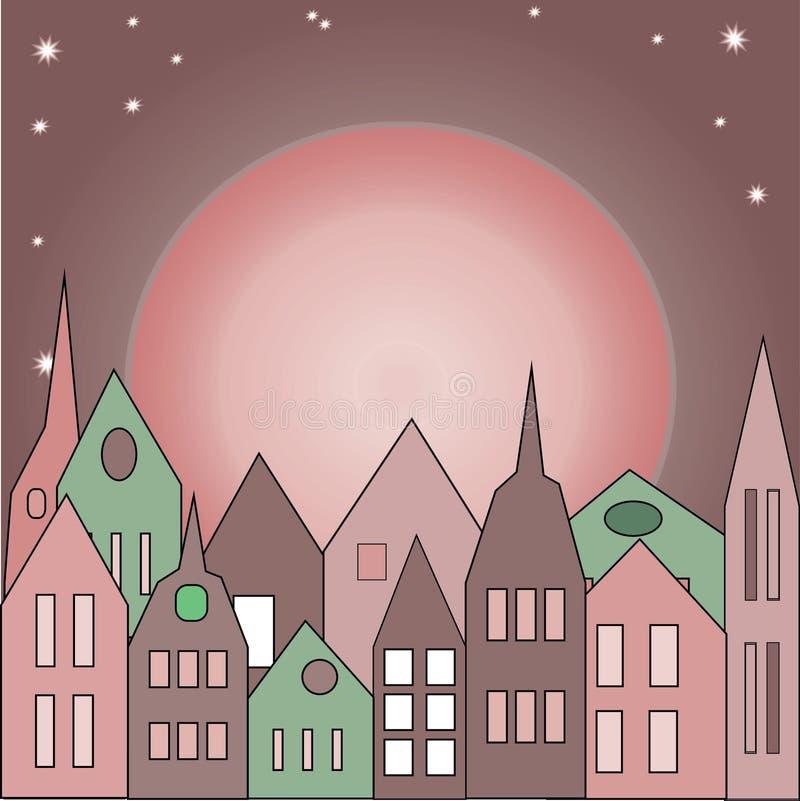 Beaucoup vieux bâtiment rose illustration stock