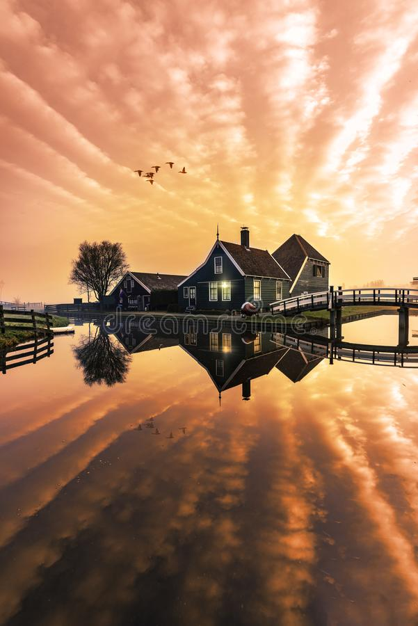 Beaucoutif typical Dutch wooden houses architecture mirrored on. Beautiful and typical Dutch wooden houses architecture mirrored on the calm canal of Zaanse stock images