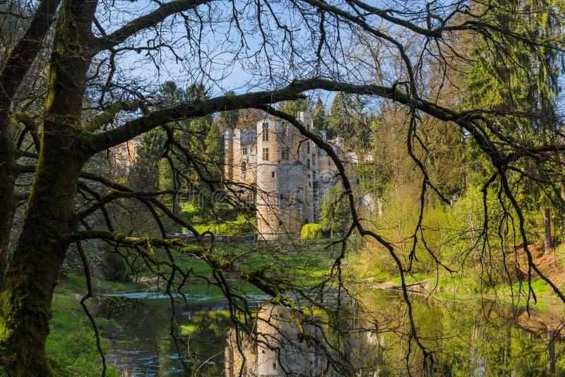 Beaufort城堡废墟在卢森堡 库存照片