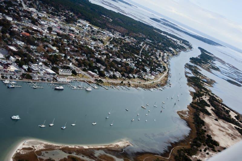 Beaufort North Carolina und Taylor Creek stockfotos