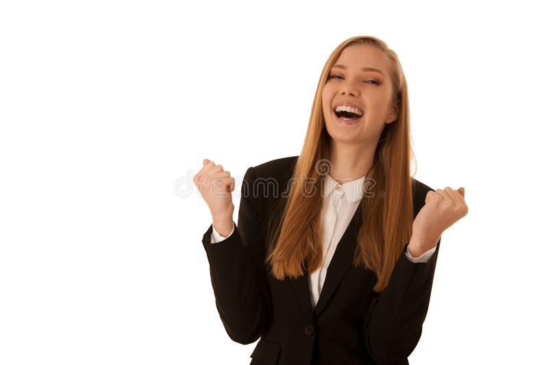 Beauiful business woman gesture success with her arms isolated o. Ver white background royalty free stock images