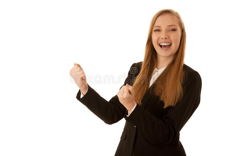 Beauiful business woman gesture success with her arms isolated over white background.  stock images
