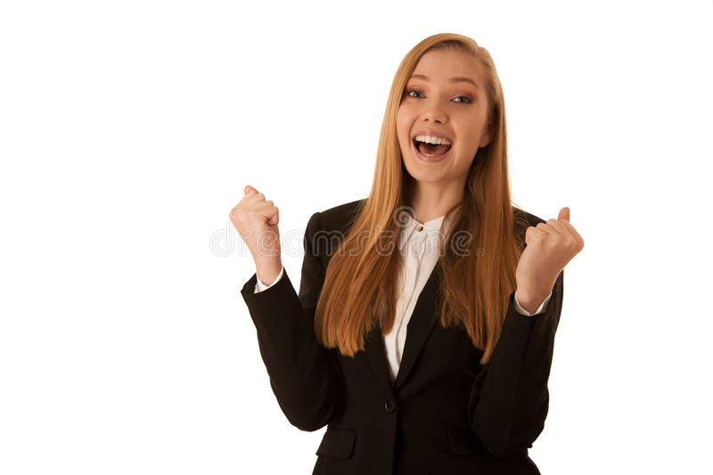 Beauiful business woman gesture success with her arms isolated over white background.  stock image