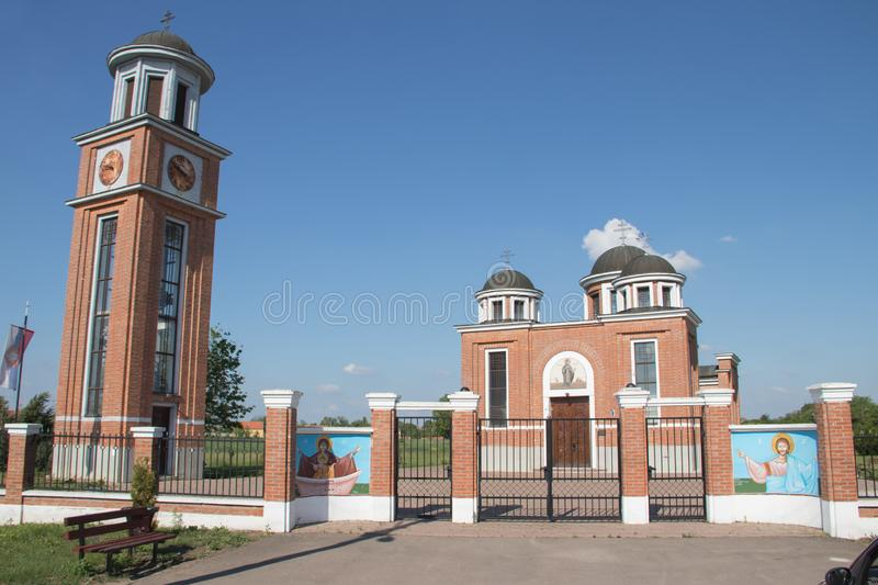 Beauiful Orthodox Church in country side of Serbia Vojvodina Region. Near city of Zrenjanin stock photography