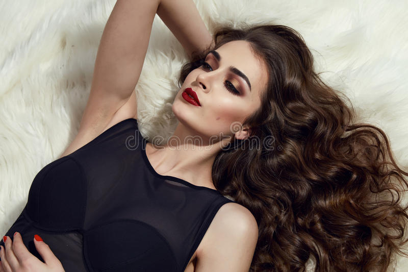 Beauiful woman evening makeup long brunette hair perfect royalty free stock photo