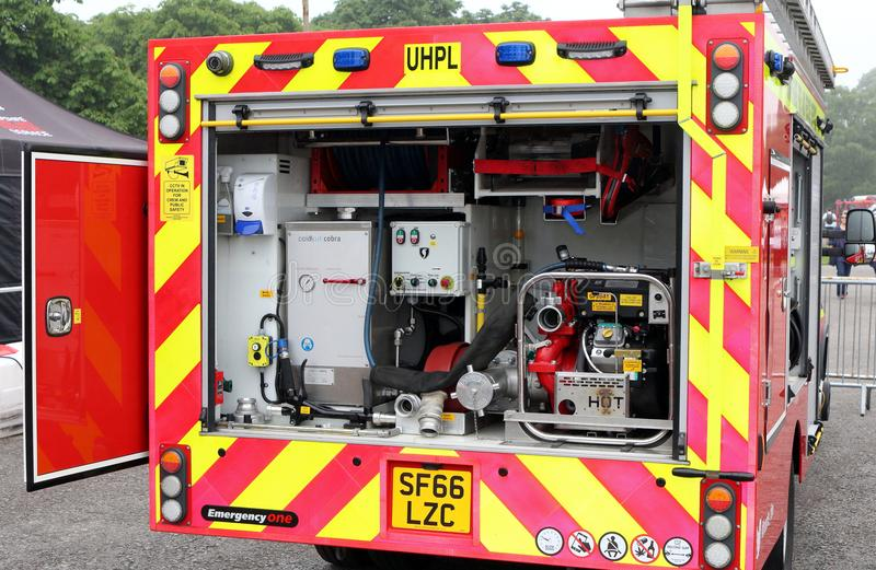 Beaulieu, Hampshire, UK - May 29 2017: Firefighting equipment in royalty free stock images