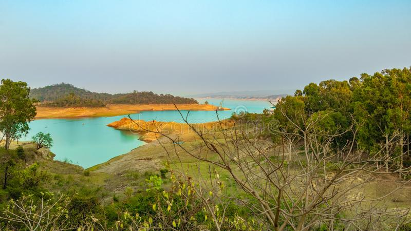 Beaultiful Landscape of Dam. Water reservoir in Pong Dam, Talwara, Punjab, India. Beautiful landscape capture in evening, adventure, background, blue, bridge stock photos