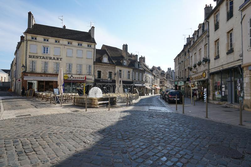 Carnot Place in Beaune, France. Beaune,France-October 15, 2018: Carnot Place in Beaune, France royalty free stock photos