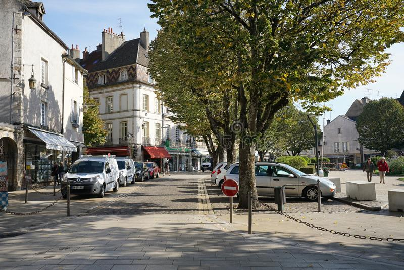 Carnot Place in Beaune, France. Beaune,France-October 15, 2018: Carnot Place in Beaune, France royalty free stock image