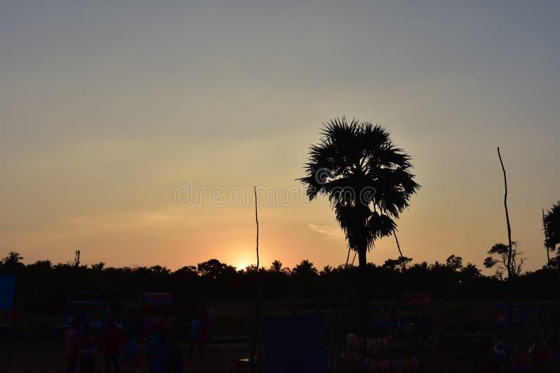 Beauri sunset i Pondicherry India royaltyfri foto