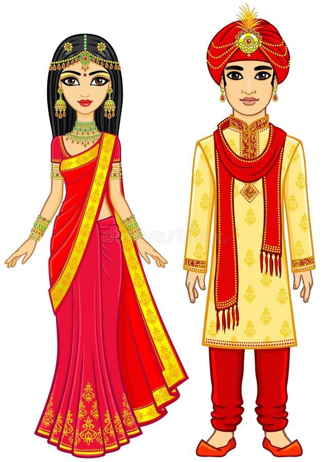 Beauté asiatique Famille indienne d'animation dans des vêtements traditionnels illustration de vecteur