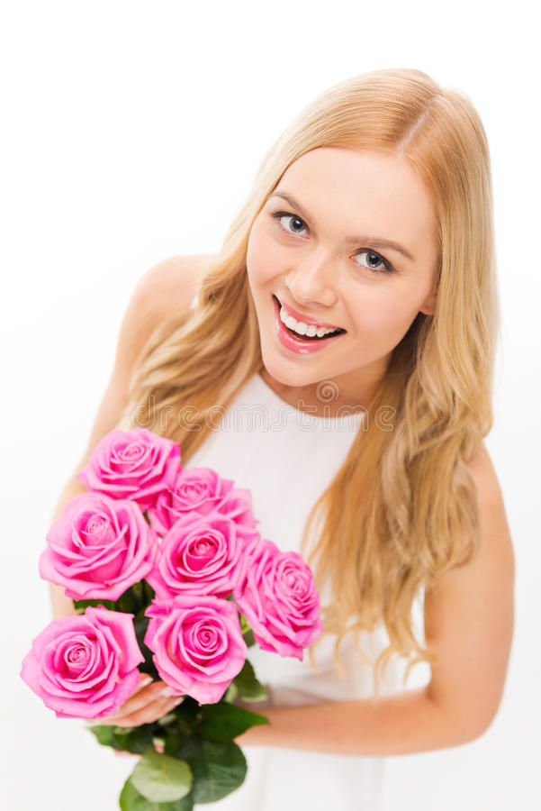 Beauté avec des roses images stock