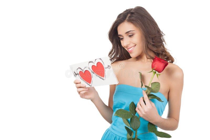 Beauté avec la carte de valentine. photo libre de droits