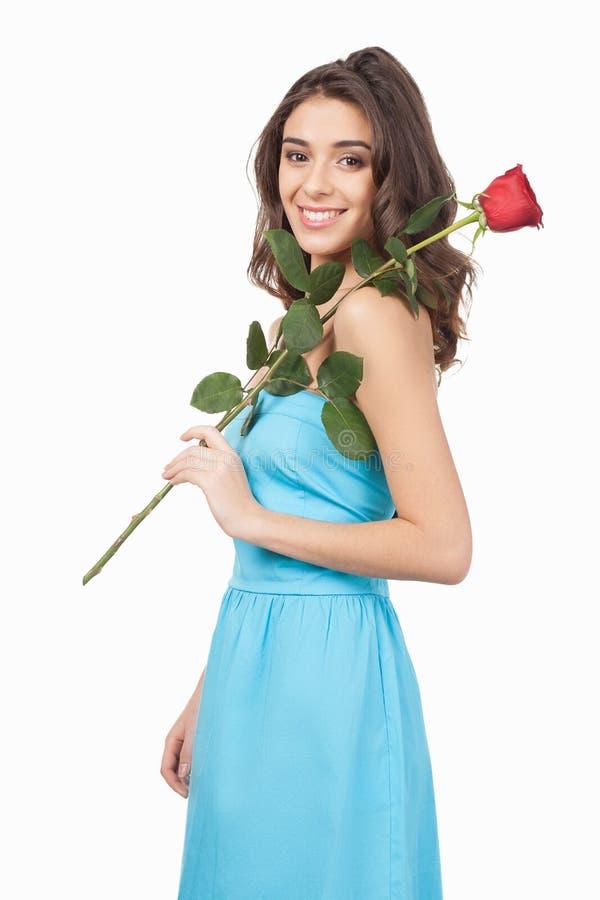 Beauté avec la rose de rouge. image libre de droits
