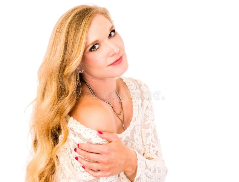 Beauté blonde de soins de la peau photo libre de droits