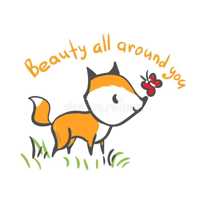 Beauté de bébé de renard de caractère de vecteur tout autour illustration stock