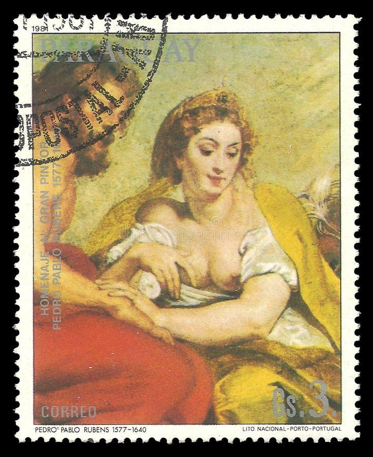 Beauté de peinture dans une robe jaune par Rubens illustration de vecteur