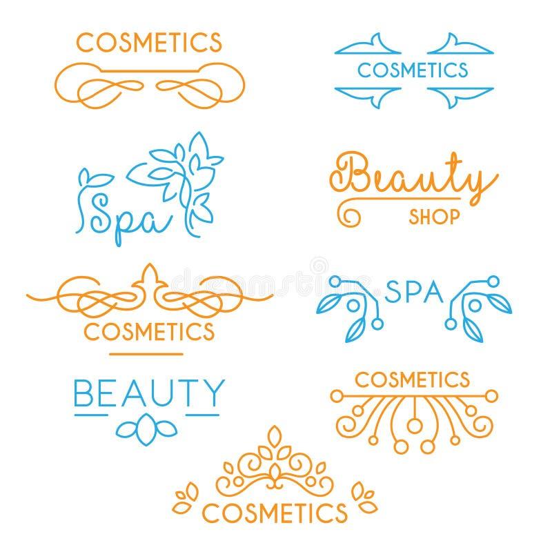 Beauté de vecteur et logos de cosmétiques illustration de vecteur