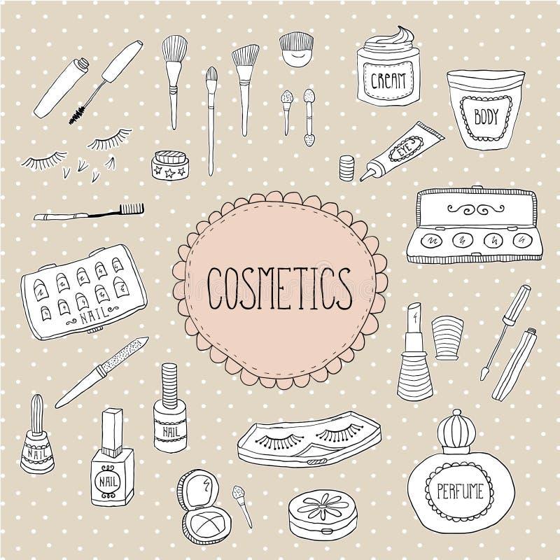 Beauté et griffonnages d'icônes de cosmétiques illustration stock