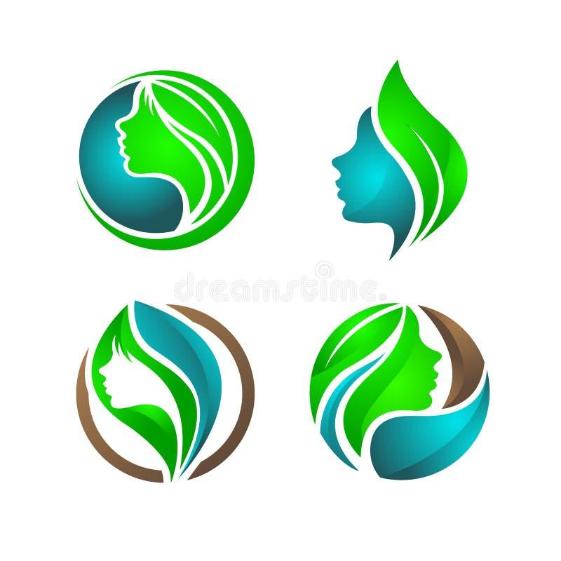 Beauté, femme, nature et logo healty photographie stock