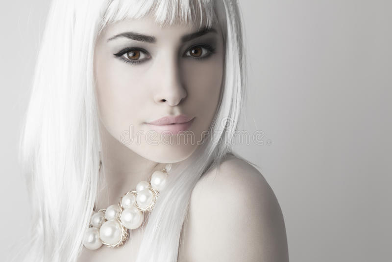 Beauté moderne avec la couleur de cheveux blonds de platine image stock