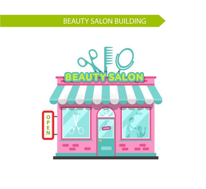 Beauté ou bâtiment de salon de coiffure illustration libre de droits
