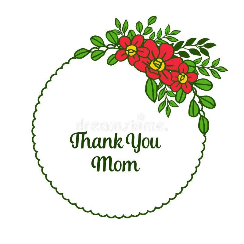 Beaut? d'illustration de vecteur la diverse du cadre orange de fleur pour la carte vous remercient maman illustration stock