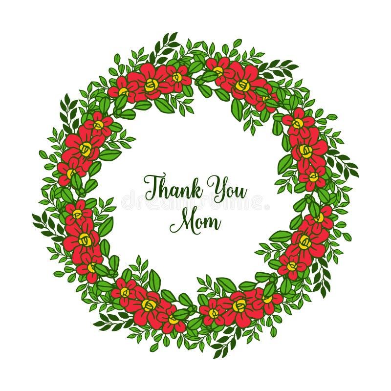 Beaut? d'illustration de vecteur la diverse du cadre orange de fleur pour la carte vous remercient maman illustration de vecteur