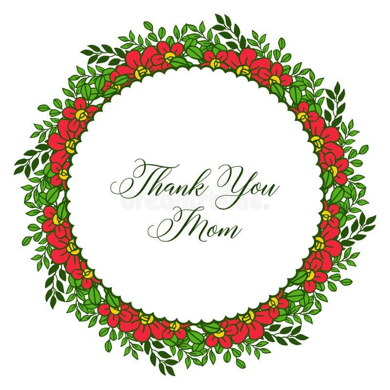 Beaut? d'illustration de vecteur la diverse du cadre orange de fleur pour la carte vous remercient maman illustration libre de droits