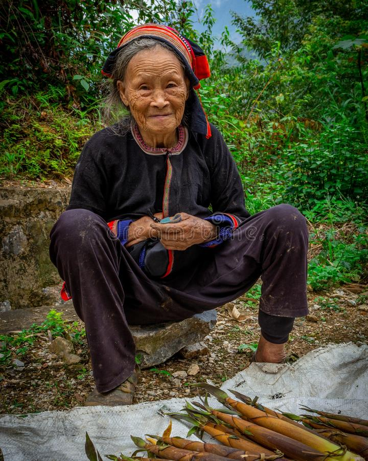 This beaut at the side of the road!. This woman with a beautiful smile selling by the side of the road in Hà Giang royalty free stock images