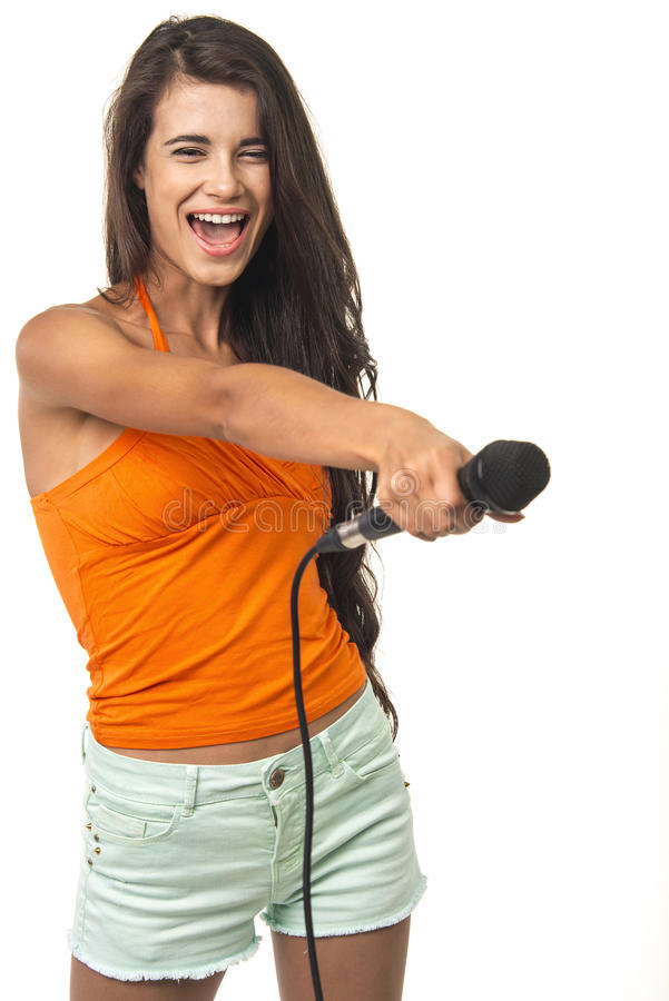 Beauteous Dame bietet an, sich ihrem Gesang anzuschließen stockbilder