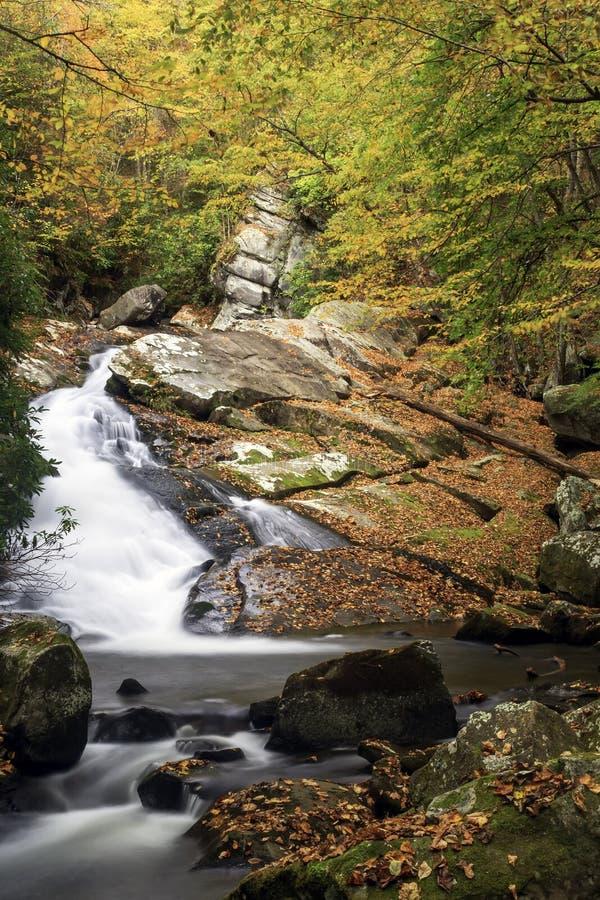 Beautful сползая водопад в закоптелом национальном парке горы стоковые фото