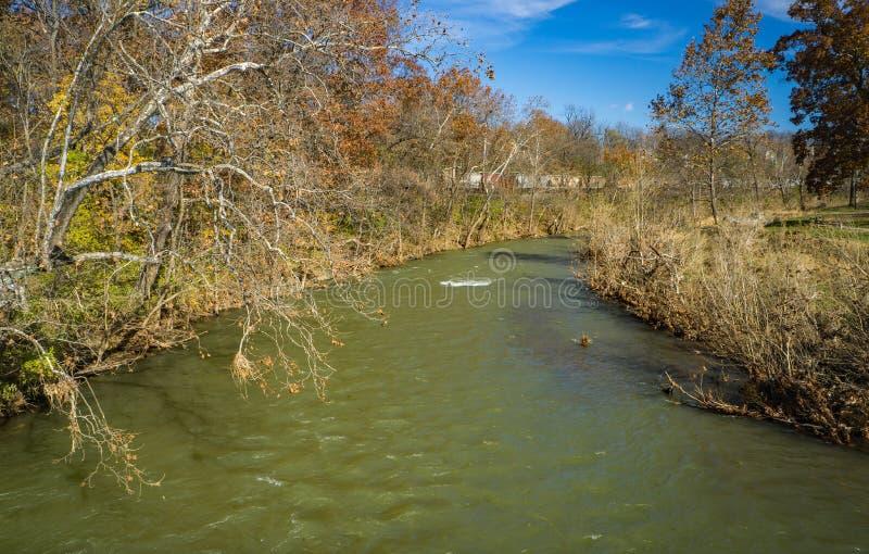 Beautful Roanoke River. A beautiful autumn day on the Roanoke River from the Roanoke River Greenway located in Wasena Park, Roanoke, Virginia, USA stock photos