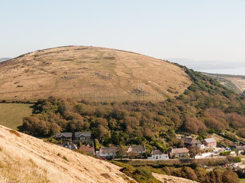beauti de la bahía del día de verano del paisaje de la naturaleza de la opinión de Dorset de la ensenada del lulworth fotos de archivo libres de regalías