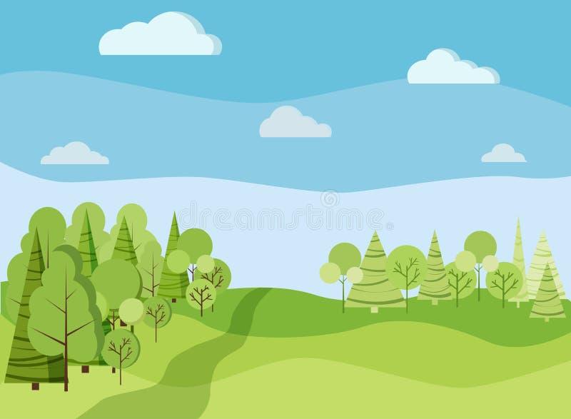 Beautiaful与绿色树,云杉,领域,路,云彩的春天或夏天风景背景 向量例证