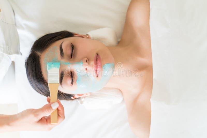 Beautician aplicando máscara a la cara del cliente fotografía de archivo libre de regalías