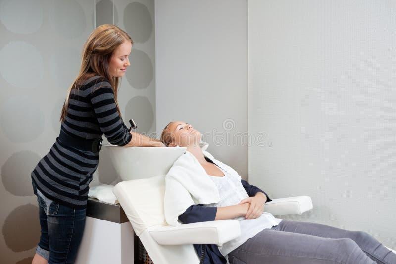 Beautician Płuczkowy włosy klient obraz royalty free